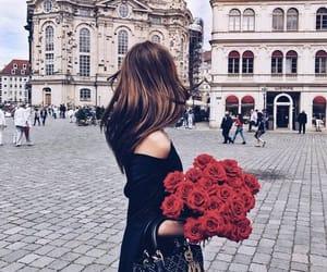girl, beautiful, and rose image
