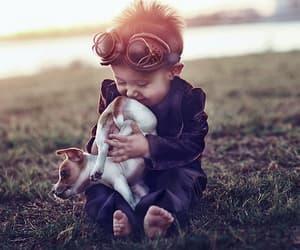 boy, dog, and child image