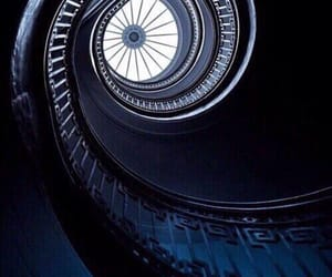 blue, dark, and stairs image