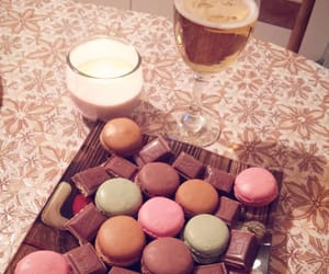 candle, chocolate, and drink image