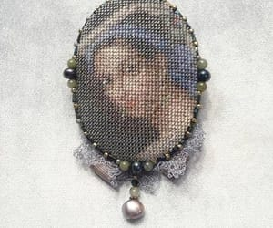 etsy, woman portrait, and beadwork brooch image