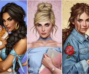 belle, cinderella, and disney image