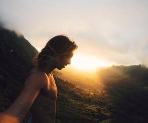 photography, sunset, and surf boy image