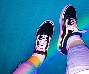 black&white, rainbow, and vans image