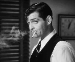 clark gable, gif, and cigarette image