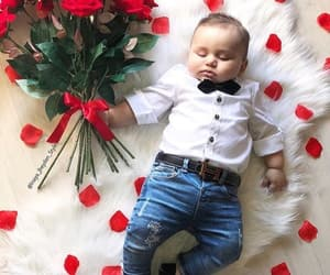 baby, cuteness, and roses image