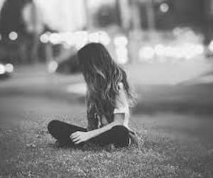 girl, black and white, and alone image