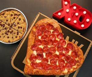 pizza, heartshapedpizza, and valentinesday image