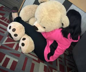 girl, Valentine's Day, and giant teddy bear image