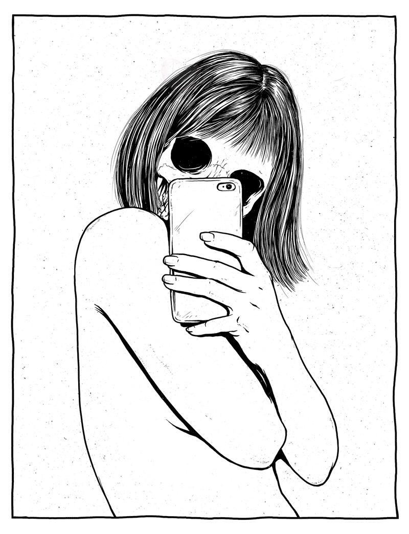 black, illustration, and selfie image