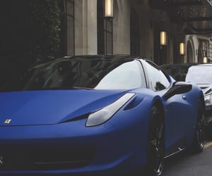 car, blue, and ferrari image
