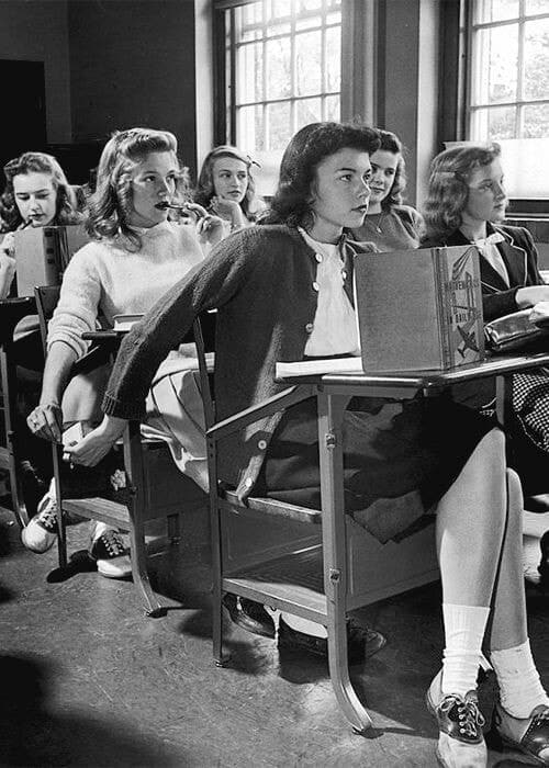 vintage, school, and black and white image