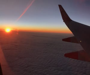 adventure, Flying, and sunset image