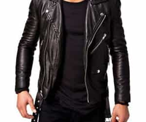 black jacket, jackets, and leather image