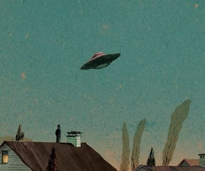 drawing, retro, and ufo image