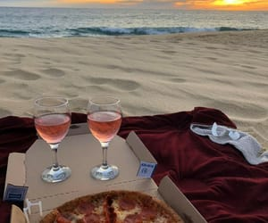 pizza, beach, and sunset image