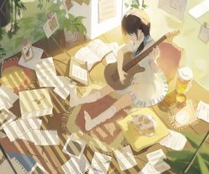 guitar, anime, and anime girl image