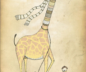 giraffe, animal, and scarves image