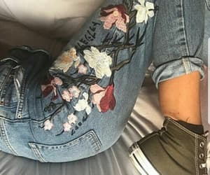flowers, japanese, and jeans image