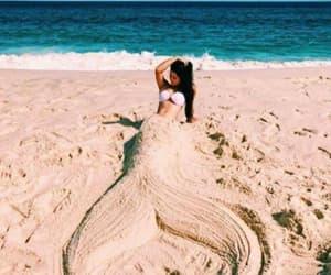 beach, girl, and mermaid image