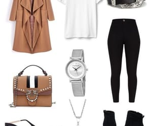 black jeans, Polyvore, and coats image