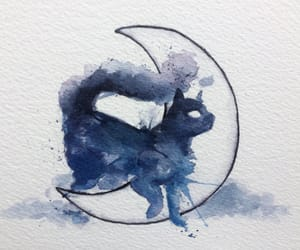 cat, watercolor, and moon image