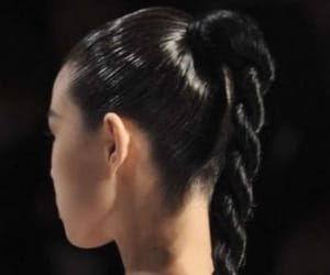 hair, black, and runway image
