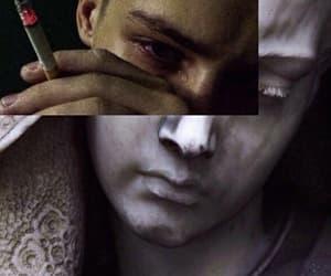 art, boy, and cigarette image