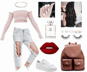 bag, lips, and outfit image