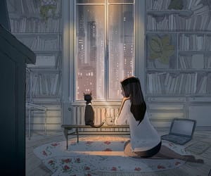 art, girl, and cat image