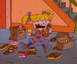 cartoon, food, and 90s image