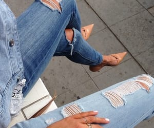 beauty, high heels, and jeans image