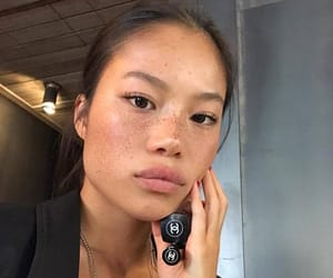 asian, freckles, and model image