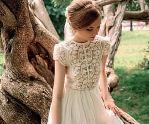 bridal gown, lace dress, and long dress image