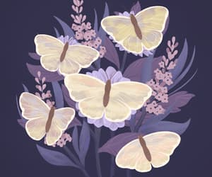 butterflies, flowers, and clouds image