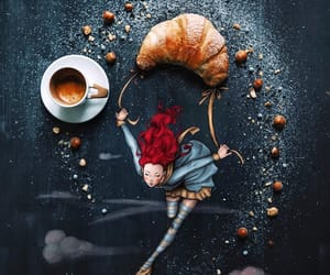 croissant, art, and coffee image