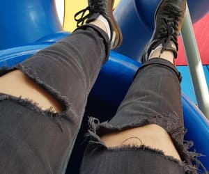 black, ripped jeans, and shoes image