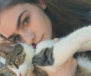 girl, tumblr, and cat image