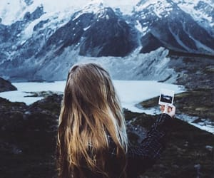 blue, mountains, and girl image