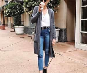 maroon boots and grey cardigan outfit image