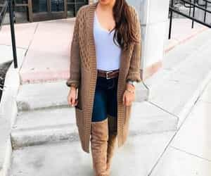 boots, jeans, and knitted cardigan image