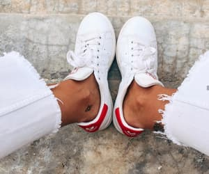 red, stan smith, and shoes image