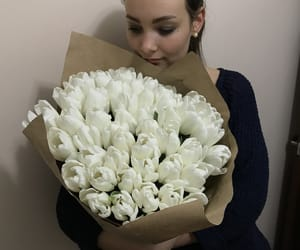 beauty, flowers, and white tulips image