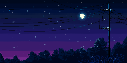 night, pixel, and moon image