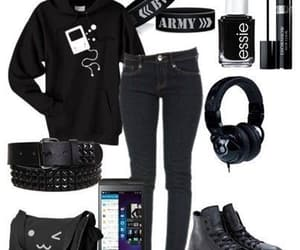 bag, fashion, and headphone image