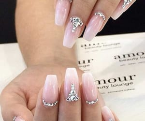 gems, nails, and pink image