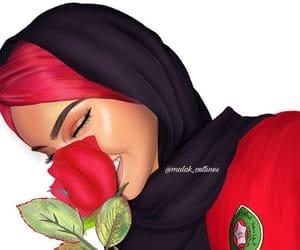 drawing, girl, and hijab image