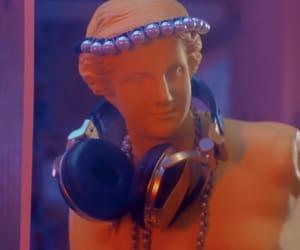 headphone, orange, and diamond girl image