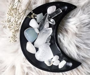 crystals, white, and black image