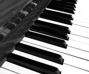 b&w, piano, and white image